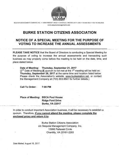 BSCA Special Meeting Notice