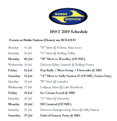 Burke Station Swim Team July 2019 Schedule