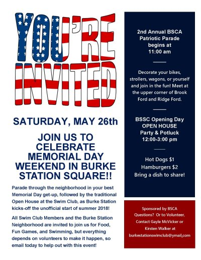 Burke Station Swim Club Parade and Open House Flyer