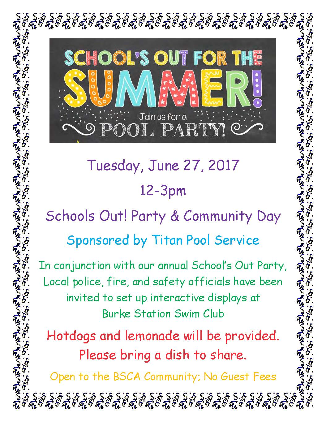 Schools Out 2017 Flyer